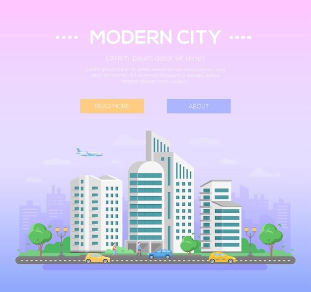 Nowoczesne miasto - ilustracja kolorowy wektor z miejscem na tekst na jasnoniebieskim i fioletowym tle. ładny pejzaż miejski z drapaczami chmur, drzewami, samochodami na drodze, chodzącymi ludźmi, samolotem na niebie