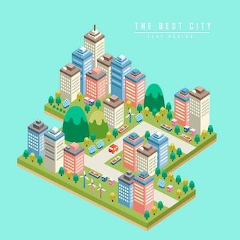 Nowoczesne miasto infografika izometryczna 3d z wysokimi budynkami
