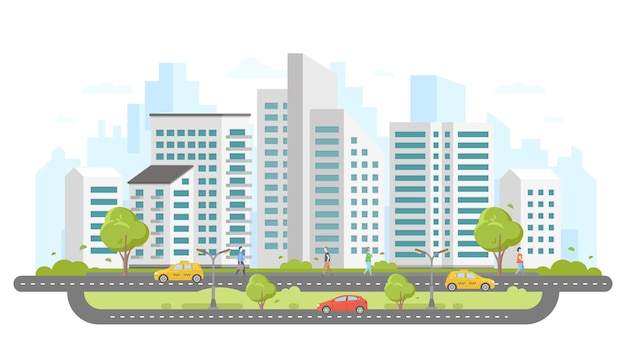 Nowoczesne miasto - kolorowy płaski styl wektor ilustracja na białym tle. duży kompleks mieszkaniowy z wieżowcami, drzewami, samochodami i taksówkami na drodze, ludzie chodzą. ładne miejsce do życia?