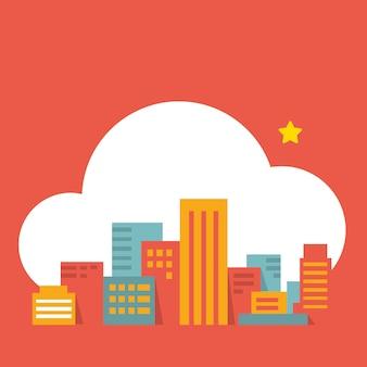 Nowoczesne miasto w chmurze, płaski