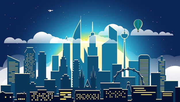 Nowoczesne miasto wieczorem, ilustracja scena wielkiego miasta