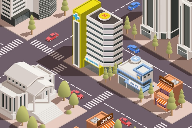 Nowoczesne miasto z mieszkalnymi budynkami administracyjnymi i biurowymi transport 3d izometryczna ilustracja