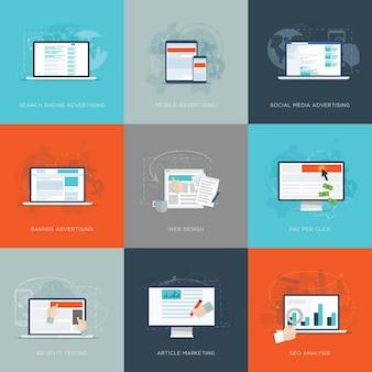 Nowoczesne mieszkanie internet marketingu wektorowych ilustracji wektorowych zestaw