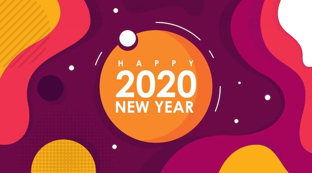 Nowoczesne mieszkanie karta szczęśliwego nowego roku 2020 w memphis design
