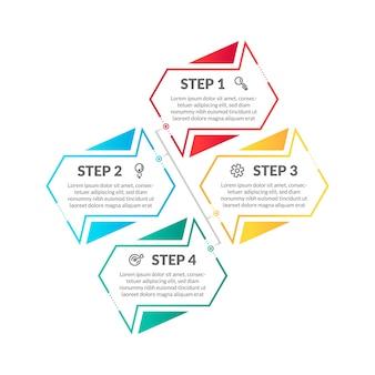 Nowoczesne mieszkanie kolorowe 4 krok plansza osi czasu. idealny do prezentacji, diagramów procesów, przepływu pracy i banerów