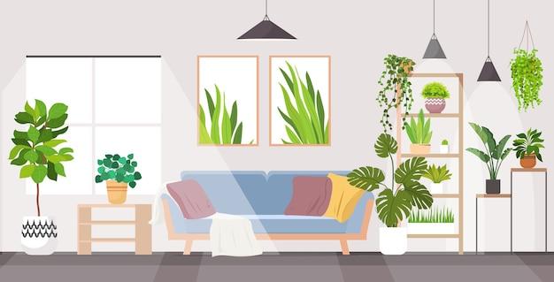 Nowoczesne mieszkanie w salonie z roślinami doniczkowymi