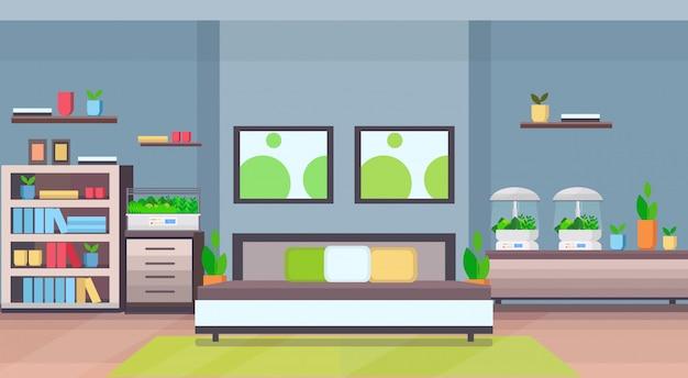 Nowoczesne mieszkanie wnętrze sypialni z domowym elektronicznym terrarium szklanym pojemnikiem rośliny domowe rosnące pojęcie płaskie horyzontalne