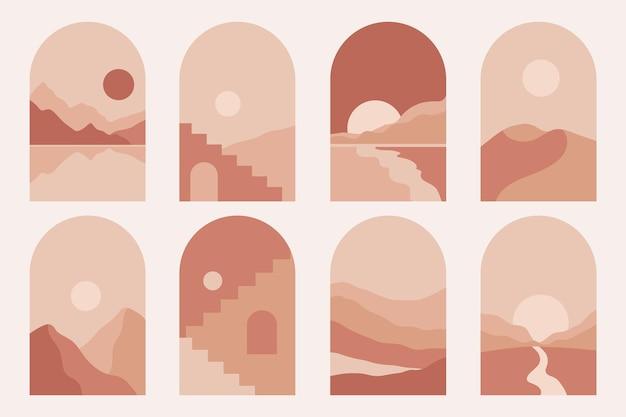 Nowoczesne minimalistyczne abstrakcyjne górskie krajobrazy estetyczne ilustracje