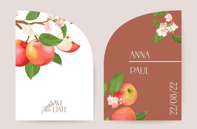 Nowoczesne minimalistyczne art deco wesele wektor zaproszenie, botaniczna karta boho apple. owoce, liście, plakat kwiaty tropikalne, kwiatowy szablon ramki. save the date, modny design liści, luksusowa broszura