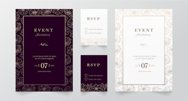 Nowoczesne minimalistyczne wydarzenie i zaproszenie na ślub
