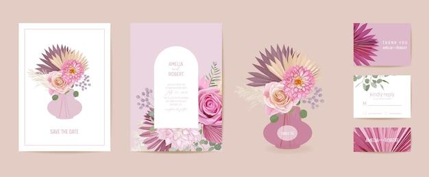 Nowoczesne minimalne wesele art deco wektor zestaw zaproszenia. róża boho, trawa pampasowa, szablon karty dalii. tropikalne liście palmowe, plakat z kwiatami, kwiatowy rama. modny design save the date, luksusowa broszura