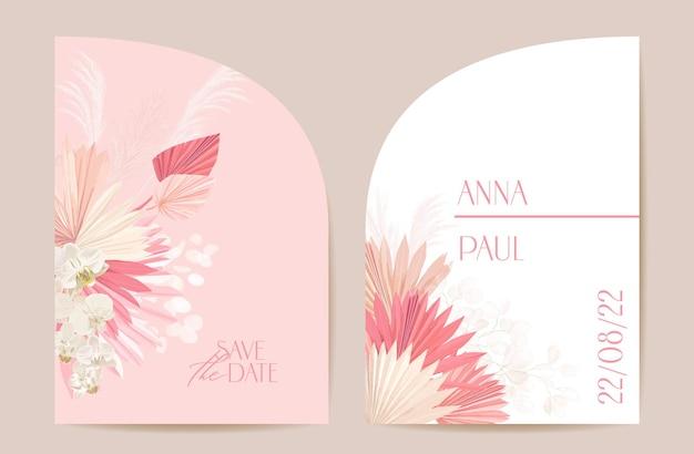 Nowoczesne minimalne wesele art deco wektor zestaw zaproszenia. storczyk boho, trawa pampasowa, szablon karty księżycowej. tropikalne kwiaty, plakat liści palmowych, kwiatowy rama. modny design save the date, luksusowa broszura
