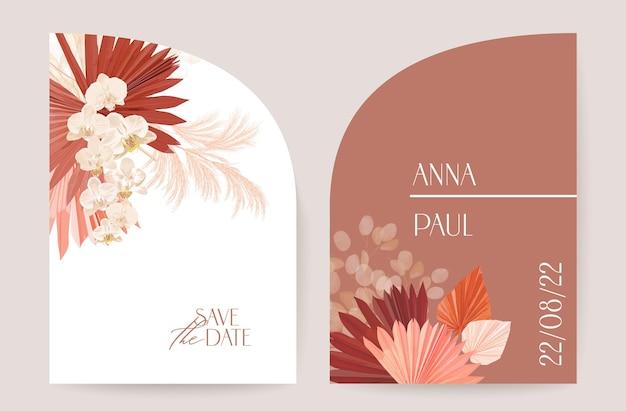 Nowoczesne minimalne wesele art deco wektor zestaw zaproszenia. storczyk boho, trawa pampasowa, szablon karty księżycowej. tropikalne kwiaty, plakat liści palmowych, kwiatowy ramki. modny design save the date, luksusowa broszura