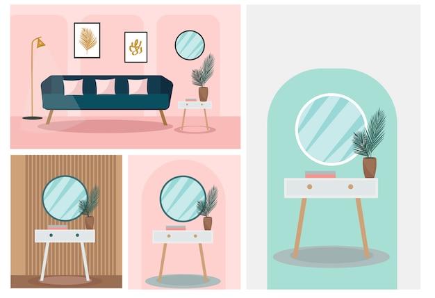Nowoczesne modne wnętrze. roślina w pokoju, meble w stylu retro, aksamitna sofa w salonie, okrągłe lustro na vintage cokole w sypialni. ilustracja
