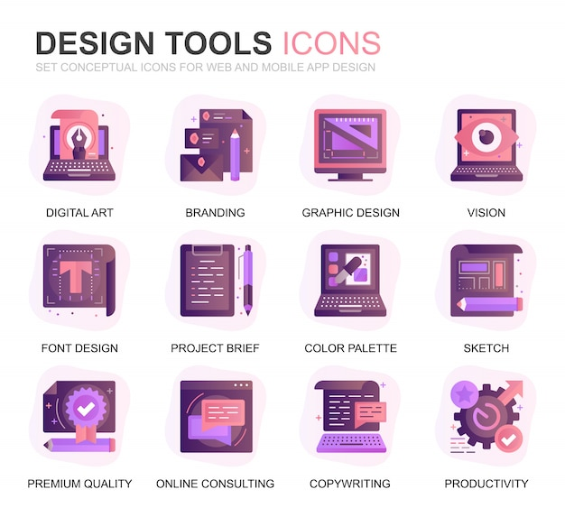 Nowoczesne narzędzia projektowe zestaw ikon płaski gradient
