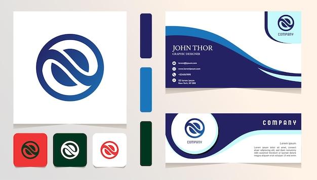 Nowoczesne niebieskie koło abstrakcyjne logo gradientowe, baner, szablon zestawu kart biznesowych