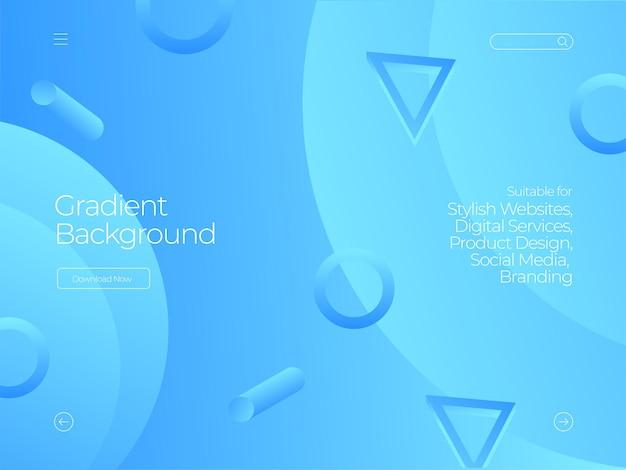 Nowoczesne niebieskie tło gradientowe memphis