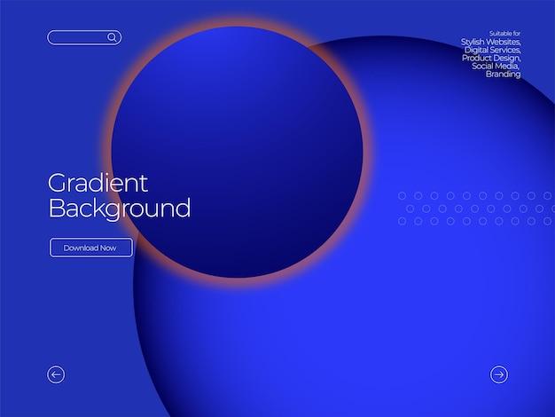 Nowoczesne niebieskie tło gradientowe w koło
