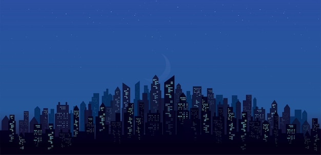 Nowoczesne nocne panoramę miasta krajobraz tła