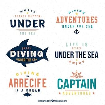 Nowoczesne nurkowania i marynarz banery