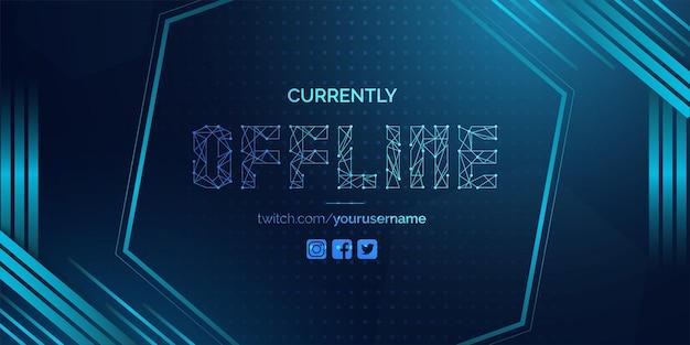 Nowoczesne, obecnie offline twitch banner background z abstrakcyjnymi niebieskimi kształtami