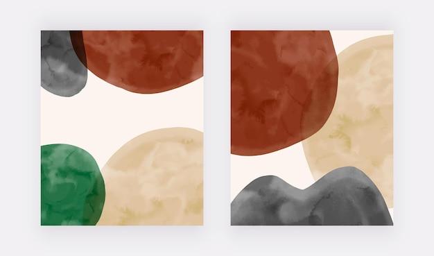 Nowoczesne okładki z beżowo-czarno-brązowymi akwarelowymi kształtami