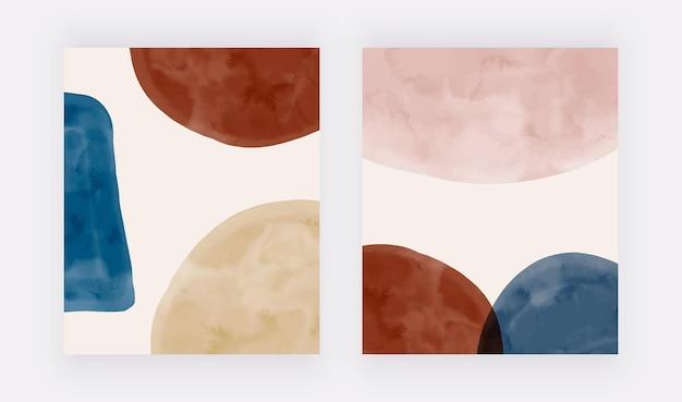 Nowoczesne okładki z beżowo-niebieskimi i brązowymi akwarelowymi kształtami