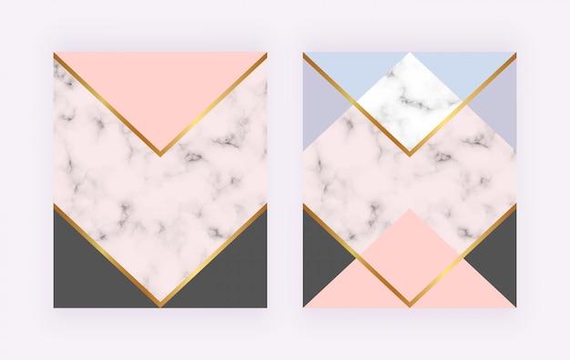 Nowoczesne okładki z marmuru, geometryczny wzór, złote linie, różowe, niebieskie trójkątne kształty.