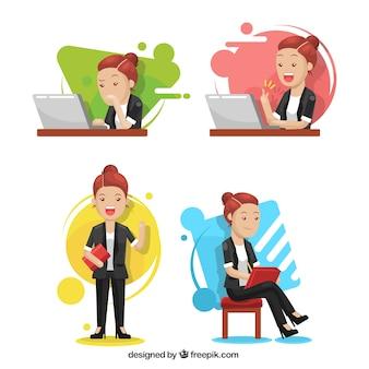 Nowoczesne opakowanie ekspresyjnego charakteru bizneswoman