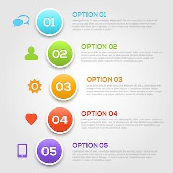Nowoczesne opcje infografiki szablon.