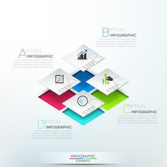 Nowoczesne opcje infografiki transparent z 3d białe bloki