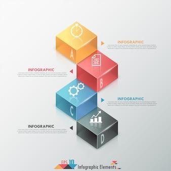 Nowoczesne opcje infografiki transparent z 3d kolorowe bloki