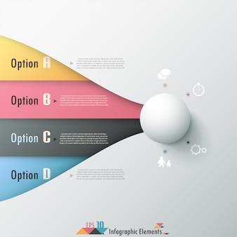 Nowoczesne opcje infografiki transparent z białą kulę