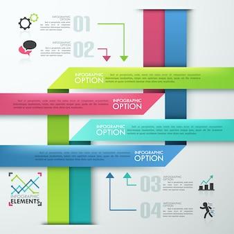 Nowoczesne opcje infografiki transparent z kolorową piramidą