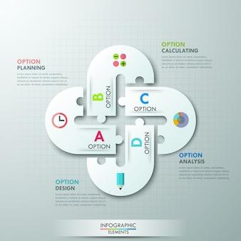 Nowoczesne opcje infografiki transparent z papierowymi strzałkami