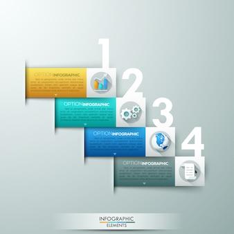 Nowoczesne opcje infografiki transparent z wstążkami