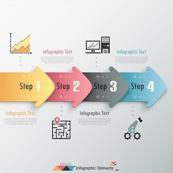 Nowoczesne opcje infografiki transparent ze strzałkami
