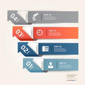 Nowoczesne opcje kroków biznesowych strzałek można wykorzystać do układu przepływu pracy, schematu, opcji liczbowych, opcji zwiększania, szablonu internetowego, infografiki.