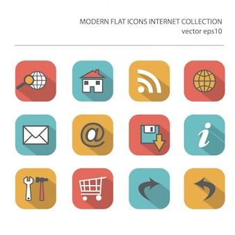 Nowoczesne płaskie kolekcja ikon wektorowych z długimi efekt cienia w stylowych kolorach przedmiotów internetowych wyizolowanych na białym tle