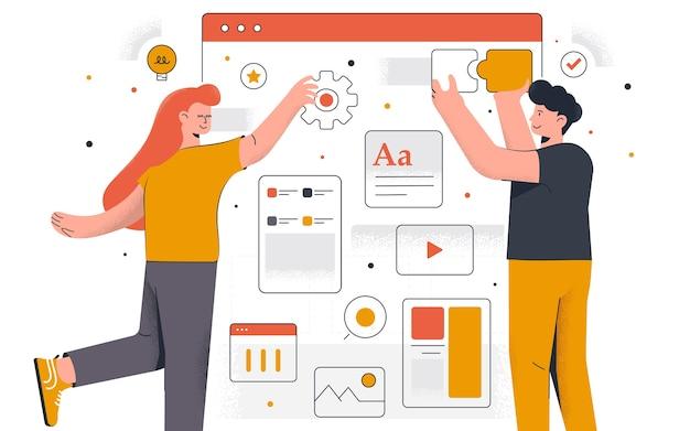 Nowoczesne projektowanie stron internetowych. młody mężczyzna i kobieta pracują razem nad projektem. praca biurowa i zarządzanie czasem. łatwe do edycji i dostosowywania. ilustracja