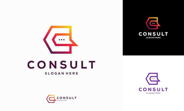 Nowoczesne projekty szablonów logo gradient consulting agency, szablon logo simple elegant consult
