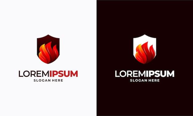 Nowoczesne projekty szablonów logo tarczy ognia, symbol projektów logo tarczy