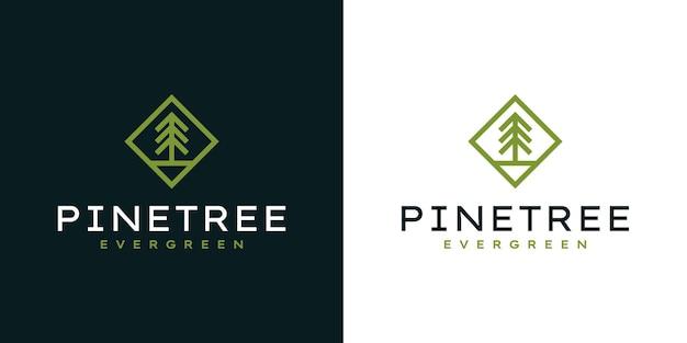 Nowoczesne proste logo sosny na zewnątrz logo, marka przygodowa