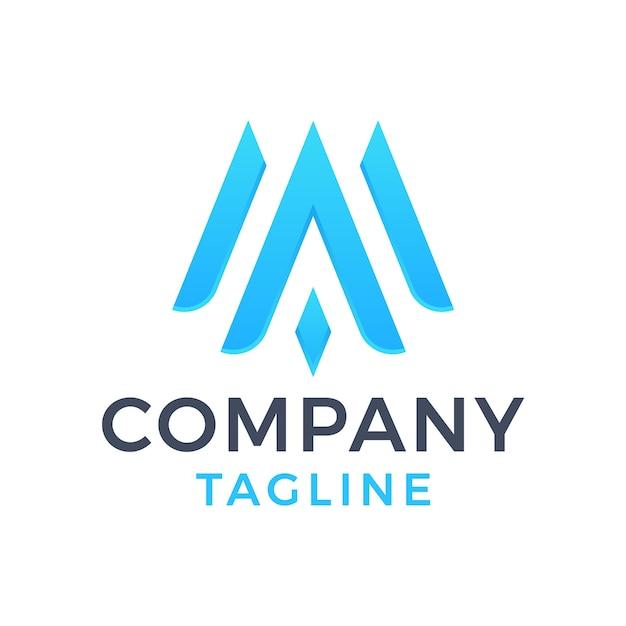Nowoczesne proste monogram litery ma elegancki niebieski projekt logo gradientu cyjanu