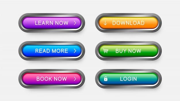 Nowoczesne przyciski internetowe w kolorze fioletowym, błękitnym, różowym, żółtym, zielonym.