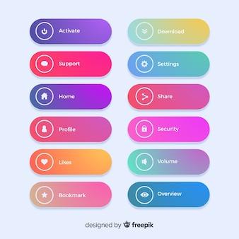 Nowoczesne przyciski internetowych w stylu gradientu