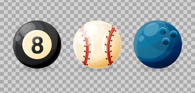 Nowoczesne realistyczne piłki do sprzętu sportowego do bilarda, kręgle, baseball, zbliżenie.