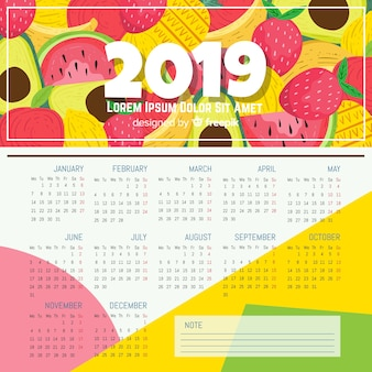 Nowoczesne ręcznie rysowane 2019 szablon kalendarza
