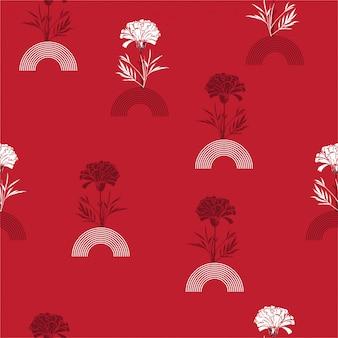 Nowoczesne, ręcznie rysowane kwiat goździka z jgeometric pół koła paski bez szwu