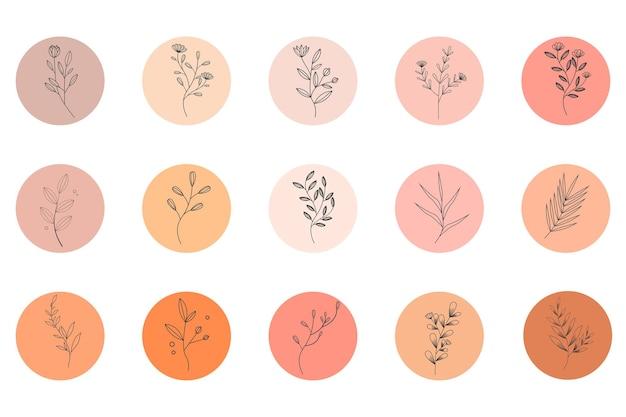 Nowoczesne ręcznie rysowane minimalistyczne kwiaty i liście